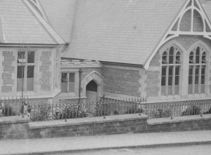 The girls' entrance shown in around 1902 when the school opened.