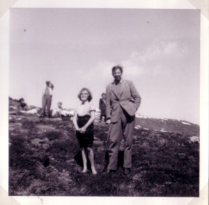 Sandra Aston and Mr Underwood on the 1961 school journey to Norway