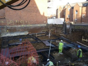 Foundations are in place for the two new three-storey houses.